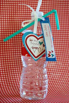 "Valentines Day love juice! Am I nerd that would rather do this for my kids class instead of all the sugar. You can even find all natural flavor packets!  Call it ""love potion"""