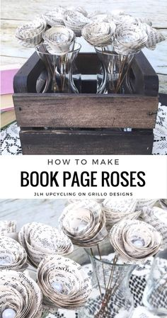 how to make book page roses is part of Book page crafts - How to Make Book Page Roses Bookart DIY Recycled Book Crafts, Old Book Crafts, Book Page Crafts, Book Page Art, Up Book, Old Book Pages, Book Art, Recycled Clothing, Recycled Fashion