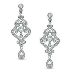 AVA Nadri Crystal Chandelier Earrings in White Rhodium Plated Brass