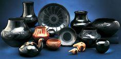 Maria Martinez, Tony Da, Popovi, Poveka, Marie and Julian, Santana and Adam, San Ildefonso, polychrome, pueblo pottery, polychrome pottery, marie, julian martinez, black on black