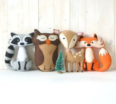40% OFF: Woodland Stuffed Animal PATTERNS, Hand Sewing Felt Fox Owl Deer Raccoon Plushie Patterns, Deer Fox Owl Raccoon from LittleHibouShoppe on Etsy.