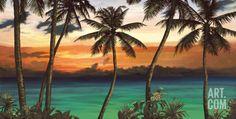 Emerald Sunset Print by Elena Panizza at Art.com