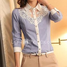 Women's Casual Lace Micro Elastic Long Sleeve Regular Blouse 2017 - $8.99