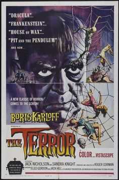 The Karloff stare on display in this minor Roger Corman film, The Terror (1963), best known for having the juvenile lead played by a young actor named Jack Nicholson.