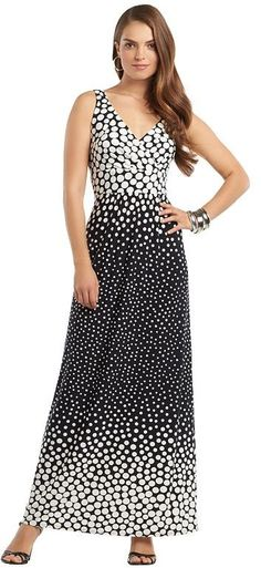 Chaps polka-dot empire maxi dress