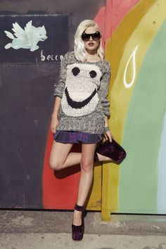 Smiley face jumper, Furst of a Kind vintage plaid skirt, cat ear sunglasses and Pointe platforms in purple
