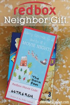 Redbox Neighbor gift idea from Over the Big Moon 12 days of Christmas Gift Ideas