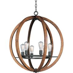 Add a rustic touch to your entry way or den with this stylish chandelier, showcasing an openwork wood shade. Product: Chandelier
