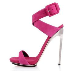 POSH GIRL  Fuchsia Suede Ankle Wrap Sandals ($118) ❤ liked on Polyvore featuring shoes, sandals, multi, ankle tie shoes, ankle strap shoes, posh girl, high heel sandals and fuchsia sandals