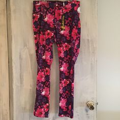 Wacky eclectic completely FLORAL PANTS IN PINKS AND PURPLES! THese are made almost entirely of polyester so they stretch well and fit a curvy body so well! They are a size 1x however I am a size 14 in dresses and these fit me perfectly. Message for details, more pics , or offers! Looking for 15 plus shipping once I weigh them. Let's talk!   Mrschb2811@gmail.com