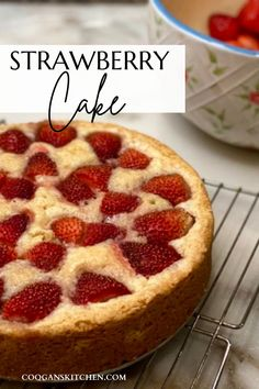 Coogan's Strawberry Cake recipe is a lightly sweetened cake with delicious bursts of strawberries baked throughout and garnished with fresh strawberries along the outside curves. An absolutely delightful, beautiful, and fragrant cake! Easy Pie Recipes, Best Dessert Recipes, Cheesecake Recipes, Cupcake Recipes, Fun Desserts, Cookie Recipes, Delicious Desserts, Mothers Day Desserts, Strawberry Cake Recipes