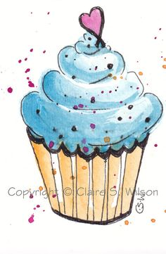 Little Bitty Cupcake  Original watercolor ACEO by claireswilson, $6.50