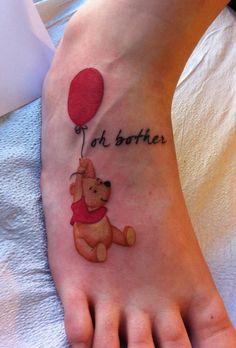 winnie the pooh red balloon tattoo Little Tattoos, Mini Tattoos, Foot Tattoos, Body Art Tattoos, Small Tattoos, Tatoos, Winnie The Pooh Tattoos, Balloon Tattoo, Cute Tats