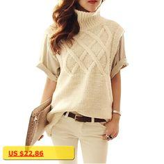 2017 New Womens Turtleneck Knitted Sweater Spring Fashion Crocheted Sleeveless Slim Pullover Knitting Vest Pull Femme