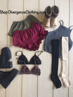 Shop new arrivals at Divergence Clothing store  #grunge #ruffleshorts #suede #suedeshorts #chelseaboots #boutiques #divergenceclothing #knitsocks #kneesocks #bralette #chunkyboots #style #fashion #falloutfits #autumn #opentoeboots #chic #croptops #fashionblogger #kyliejenner