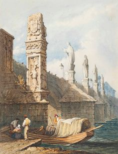 Samuel Prout, O. (Plymouth London) The Charles Bridge; and The Old Town Square, Prague, Czech Republic Great Paintings, Old Paintings, Bridge Drawing, Old Town Square, Amazing Buildings, Historical Art, Modern Artwork, Ancient Architecture, Ancient Rome