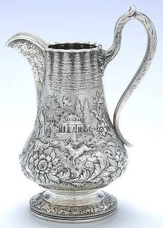 Repousse-Full Chased-Landscape (Coin) 32 Ounce Pitcher by Kirk Stieff