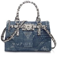 Guess Denim Handbags | Guess Greyson Denim Small Satchel Bag - Shopcade: Style ...
