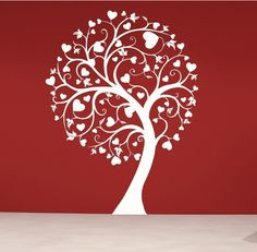 Swirly Heart Tree Wall Decal-tree wall decals, tree wall stickers, large tree wall decals,