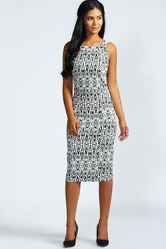 Blair Cutaway Bodycon Monoscope Midi Dress at boohoo.com