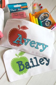 "Personalized pencil bags for the new school year!  Heavy duty cotton canvas bags with zipper that come personalized with your choice of 5 great designs! Bags measure 5x9""."
