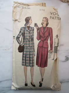 1940s Vintage WWII Women's Suit Sewing Pattern, Vogue 5035, Mystery Size by JoysinStitches on Etsy