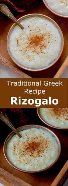 Rizogalo (pυζόγαλο) is the delicious Greek version of the traditional rice pudding that is flavored with vanilla and cinnamon. Rizogalo (pυζόγαλο) is the delicious Greek version of the traditional rice pudding that is flavored with vanilla and cinnamon. Greek Rice Pudding, Rice Pudding Recipes, Pudding Flavors, Pudding Desserts, Vegan Rice Pudding, Rice Recipes For Dinner, Greek Dessert Recipes, Greek Sweets, Greek Dishes