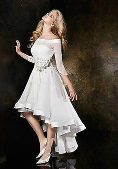 Hot Sale Sexy A Line Off The Shoulder Handmade Flowers Short Front Long Back Wedding Dresses Beach Wedding Dress 2013 Casual Bridal Gowns Casual Summer Dresses, Formal Evening Dresses, Short Dresses, Formal Prom, Dress Formal, Dress Summer, Dresses 2013, Dress Casual, Wedding Dress 2013