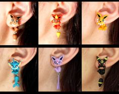 Eeveelutions earrings, inspired in Pokemon. Select 1 single earring or a pair in ''quantity'') by TroppaMangaStyle on Etsy