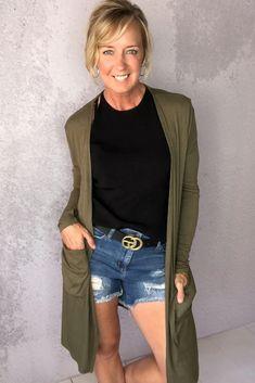 Sierra Ribbed Cardigan Olive – Melissa Jean Boutique Ribbed Cardigan, Olive Green, Size 2, Capri Pants, Boutique, Sleeves, Cardigans, Pockets