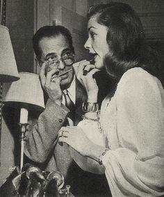 Humphrey Bogart with Lauren Bacall. Cutest shot ever
