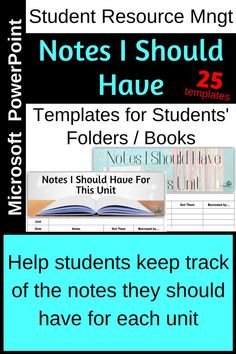 Give these out at the beginning of a unit. Students keep a 'table of contents' or checklist of the notes they are given, that they copy, or that they create.  Make a master copy for students to compare their notes against?  Are there any missing?  Avoid the end of unit and pre-exam chaos with this easy and effective way of helping students manage their resources.  Whoop whoop!
