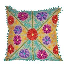 I pinned this Folkloric Cushion in Teal from the Karma Living event at Joss & Main!
