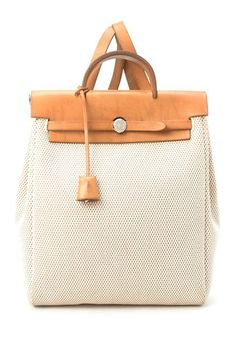 Vintage Hermes Cotton Herbag A Dos GM Backpack (Stamp: Square G) - Beige by Assorted on @HauteLook