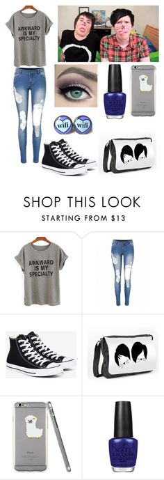 """Making a video with Dan and Phil"" by amylovesptx ❤ liked on Polyvore featuring Converse and OPI"
