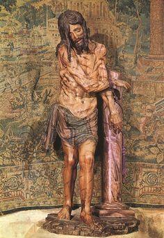 """Diego de Siloe.  Cristo atado a la columna, Catedral de Burgos. Madera policromada. Ecce homo carente del desgarro de otros artistas. Siloe era muy clasicista, de un """"pathos"""" muy contenido, de rasgos claramente miguelangelescos."""