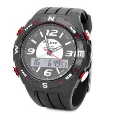 FASHION WATER RESISTANT DIVING WRIST WATCH - BLACK + WHITE