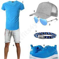 Sommer-Style für Männer in Hellblau und Grau (m0357) #outfit #style #fashion #menswear #mensfashion #inspiration #shirts #weste #cloth #clothing #männermode #herrenmode #shirt #mode #styling #sneaker