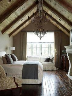 High ceilings, distressed hardwood floors, rustic decor.. Love this