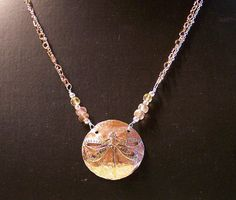 Sterling Copper Dragonfly Necklace - Sterling and copper chains, citrine & sunstone beads