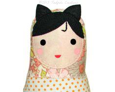 Kitty Girl Baby Doll  Cloth Doll  Soft Doll  by tadpolecreations, $20.00