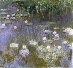 """""""Waterlilies"""" by Claude Monet. c1922, oil on canvas. In the collection of The Toledo (OH) Museum of Art. The compositional features and unusual size of this painting suggest it was conceived as a new half-width canvas for the right side of a triptych entitled """"Morning"""", but then rejected by the artist. It was left unfinished in Monet's studio at his death."""