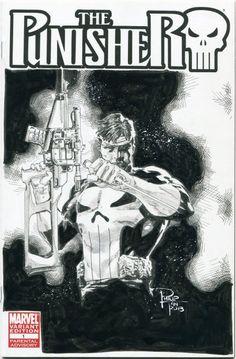 Punisher sketch cover - Philip Tan Comic Art
