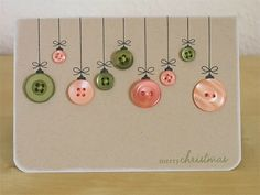 christmas card using old buttons