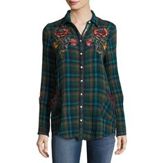 Johnny Was Bonnie Jasmine Plaid Embroidered Shirt ($220) ❤ liked on Polyvore featuring tops, multi plaid, tartan plaid shirt, long sleeve shirts, embroidered shirts, plaid top and button front shirt