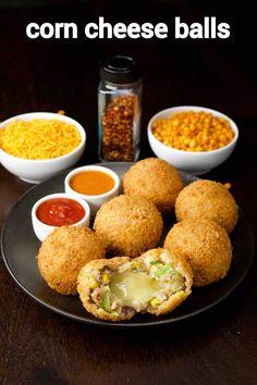 corn cheese balls recipe | how to make sweet corn & veg cheese balls Pakora Recipes, Chaat Recipe, Paneer Recipes, Veg Recipes, Spicy Recipes, Indian Food Recipes, Cooking Recipes, Kulcha Recipe, Sweet Corn Recipes