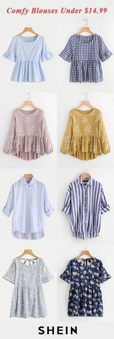 Comfy blouses under $14.99 Hope Fashion, Modern Fashion Outfits, Denim Fashion, Fashion Looks, Modest Outfits, Simple Outfits, Kids Outfits, Cute Outfits, Blouse Models