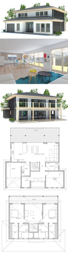 Small Modern house plan with full wall height windows and abundance of natural light. Three bedrooms and two living areas. Floor Plan from ConceptHome.com