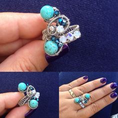 Turuoise wire ring by Zojani