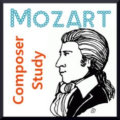 Mozart is often one of the first composers chosen for a Charlotte Mason styled composer study. He is considered one of the best known and best loved composers of all time. And the fact that he began performing and writing music at such a young age. Preschool Music, Music Activities, Music For Kids, Mozart For Kids, Piano Teaching, Teaching Art, Music Composers, Elementary Music, Music Classroom